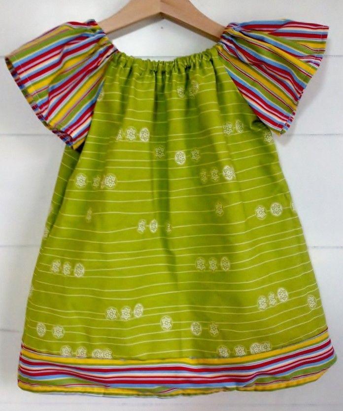 Sandlwood Peasant Dress - Stripe Pool in Green - Babies & Kids