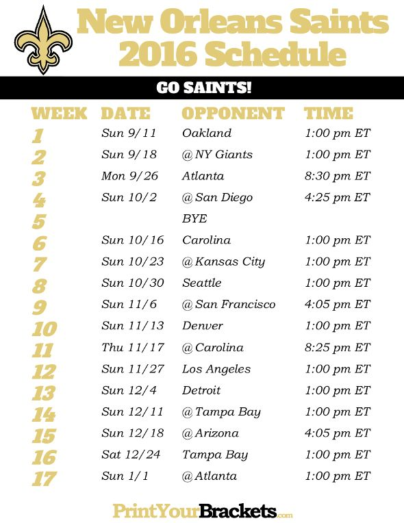 New Orleans Saints Schedule - 2016