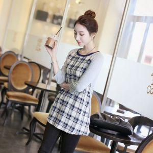 Republic of Korea reigning Women's Clothing Store [CANMART] Check Rossi color tee / Size : FREE / Price : 18.16 USD #korea #fashion #style #fashionshop #apperal #koreashop #missy #canmart #top #tee #checkT #colorT #roundT #freesize