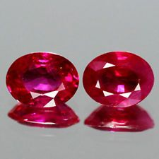 0.82cts - Cute Pair Natural AAA Vivid Red Ruby - Mozambique Oval Vivid Luster NR
