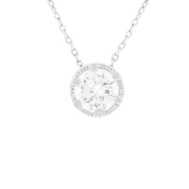 CZ Round Pendant Brass Necklace