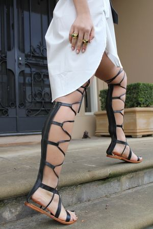 sneakers and pearls, street style, white shift dress, white long shirt, knee high gladiators, trending now.JPG