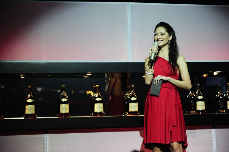 Actress Sarah Lian wearing a crimson red Henkaa for a Hennessey Artistry hosting event in Malaysia!  GORGEOUS!!