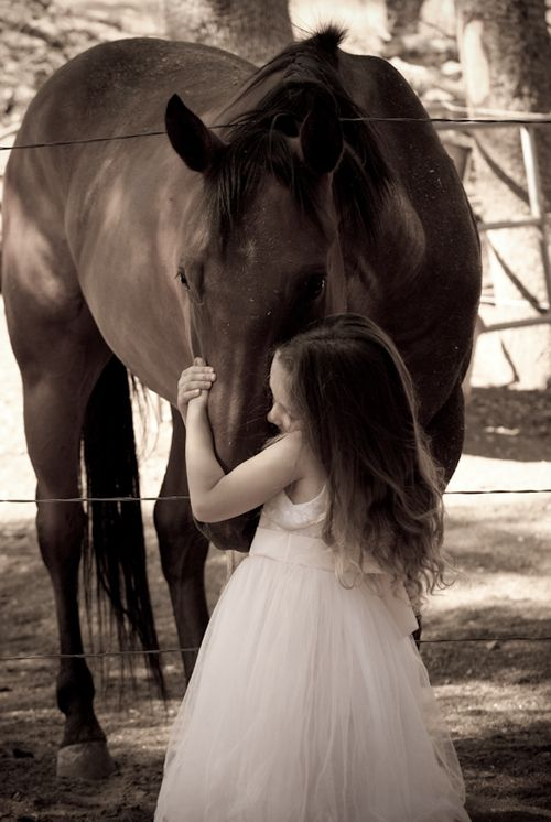 A girls true first love: Beautiful Horses, Animals, Horse Pictures, Sweet, Girl, Kids Pictures, Children Pictures, Picture Ideas