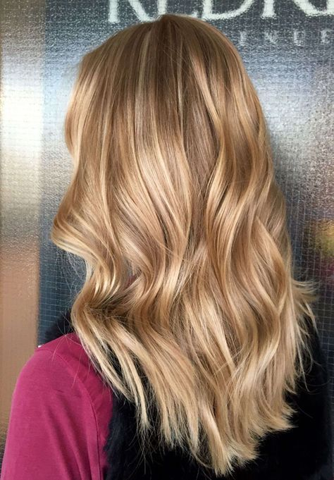 Blonde balayage on medium long hair. Luxury nice