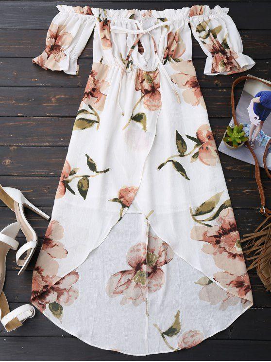 $19.99 Off Shoulder Ruffle Asymmetric Floral Dress - WHITE M