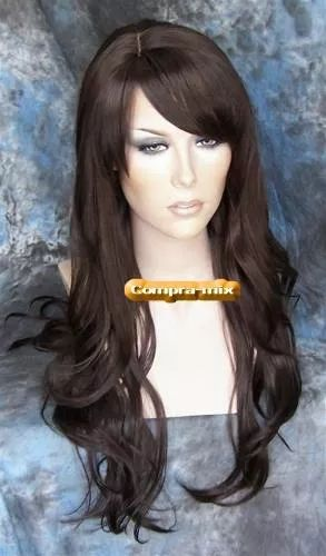 peluca super natural larga color castaño oscuro, vv4