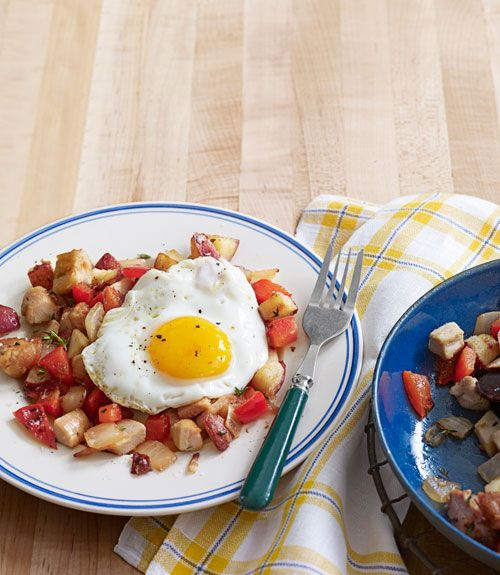 A turkey hash with sunny-side-up eggs is a perfect breakfast to begin Thanksgiving day.