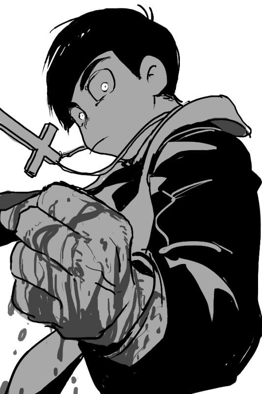 1boy blood blood_on_fingers clenched_hand looking_at_viewer matsuno_karamatsu monochrome osomatsu-kun osomatsu-san priest simple_background solo white_background