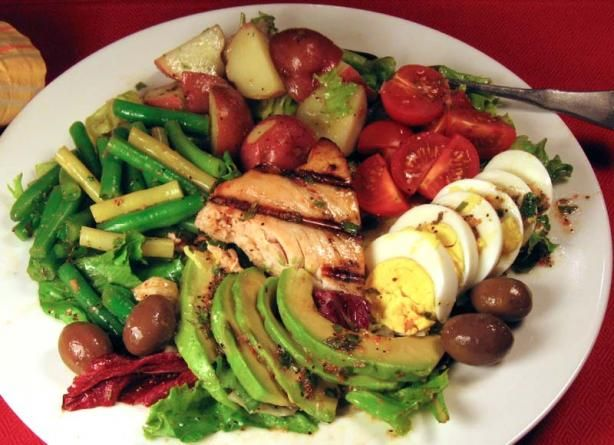 Nicoise Salad: Add avocado, corn, pickled onions, and radishes