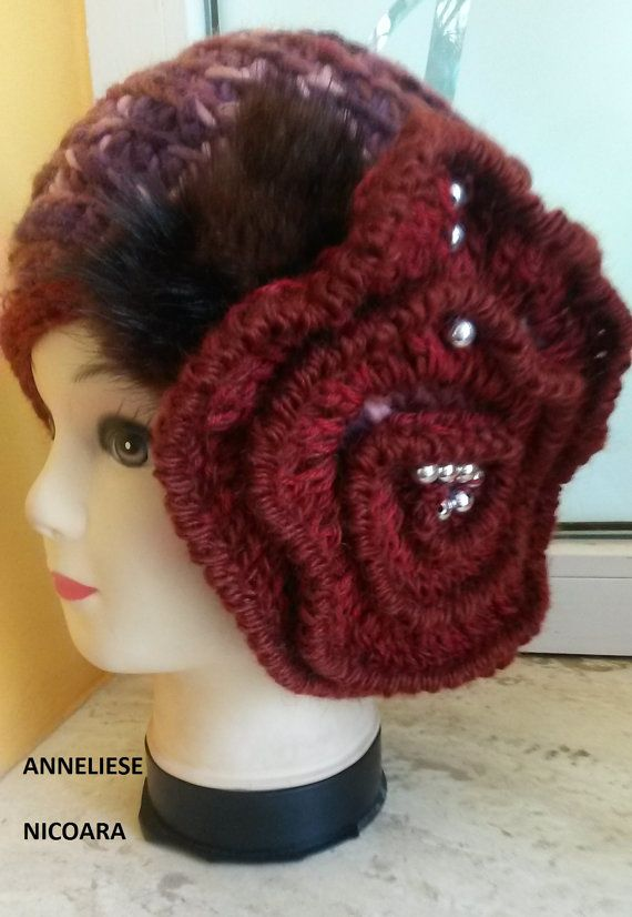 Unique-design beanie/crochet big flower hat, teen, adult, freeform crochet,, one…