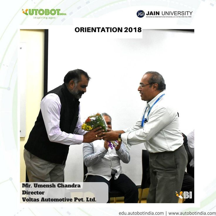 """Mr. Umesh Chandra Director of Voltas Automotive Pvt. Ltd. electric vehicle and patent holding company in Bangalore receiving the vote of honor to be our Keynote Speaker on """"Electric Vehicle Design and Development""""  program  taking placing in @jainuniversity from 16th-30th January 2018.  15 day program is the India's first Professional Program on Electric Vehicle Design and Development organised by @autobotindiaedu with the objective to facilitate the hands on learning and skill development…"""