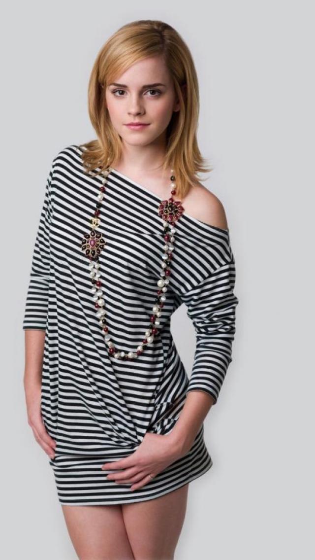 Emma Watson in striped dress