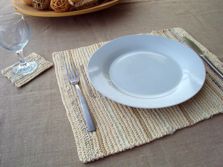 Garter Stitch Placemat and Coaster