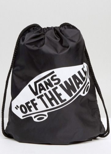 e05537d376 Vans Off The Wall Drawstring Bag In Black in 2019