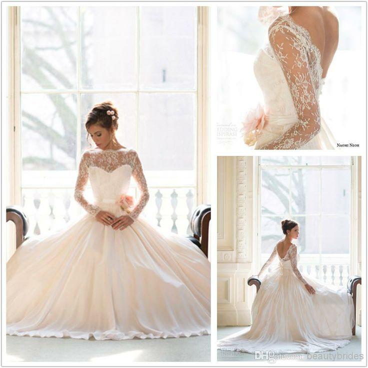 2014 Fall/Winter Long Sleeves Gorgeous Lace Wedding Dresses Sweep Train Backless Bridal Gowns with Bow