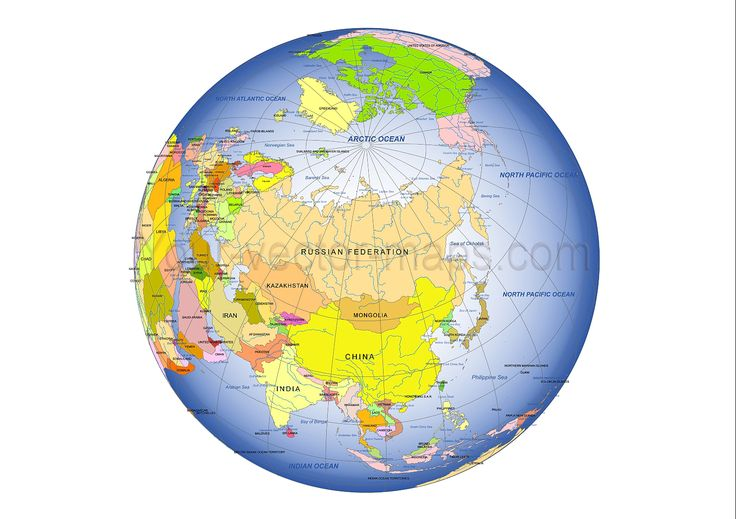 Asia centered Globe map. Russia, China in centrum