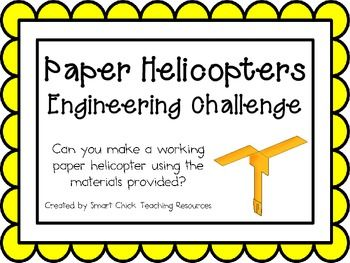 Paper Helicopters: Engineering Challenge Project ~ Great STEM Activity! $