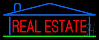 Red Real Estate House Logo Neon Sign