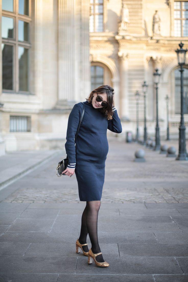look grossesse manteau militaire bleu marine robe petit bateau escarpins sequins dolce gabbana thebrunette blog mode paris-3