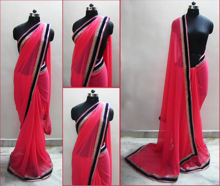 Sari name - Carrot   Lovely soothing carrot color saree in georgette fabric.  The Royal blue velvet border makes it look rich and elegant, the border also has pink and gold multi piping along with diamond work lace.   Fits in all ocassion wear.   Blouse - Royal blue velvet fabric  For booking your saree please Email us with Saree name to sales@aaenadesign.com