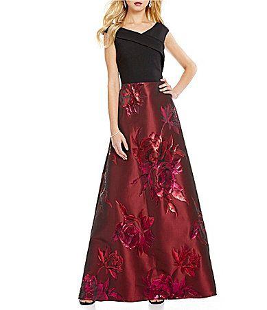 Ignite Evenings OffTheShoulder Portrait Collar Floral Brocade Gown #Dillards