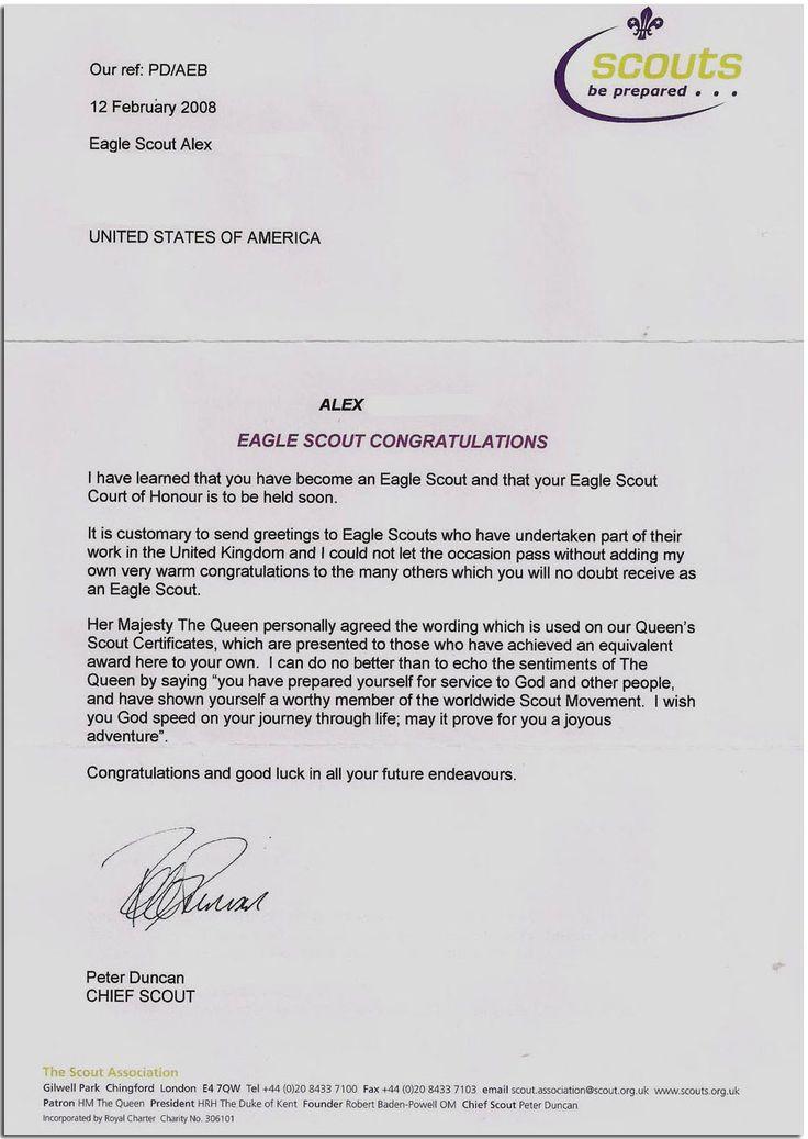 Eagle Scout Congratulatory Letters