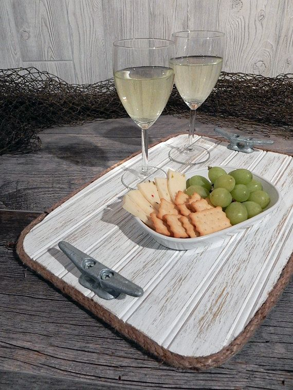 Wood Serving Tray - Galvanized Boat Cleat - Beach Beverage Ottoman Tray - Rustic Nautical Serving Board - Housewares Gift - Jute Boat Rope  ⚓ If your style is casual - country rustic or beach cottage, this unique Weathered White beadboard Wood Serving Tray will fit just about anyones style! Bring a nautical touch to your dining room, kitchen, or picnic area with this unique serving / beverage tray. This tray is made from beadboard wood and features galvanized boat cleats with natural jut...