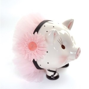 "Mud Pie Baby Perfectly Princess Giant Ceramic Piggy Bank. This Mud Pie Perfectly Princess giant size ballerina piggy bank will make a beautiful accent in any girl's room and the size allows for big saving! She's adorned with an adorable face, ballet shoes, pink fluffy tulle tutu and a pretty silk flower accent. Measures 9"" x 11"" and comes with a gift box!"