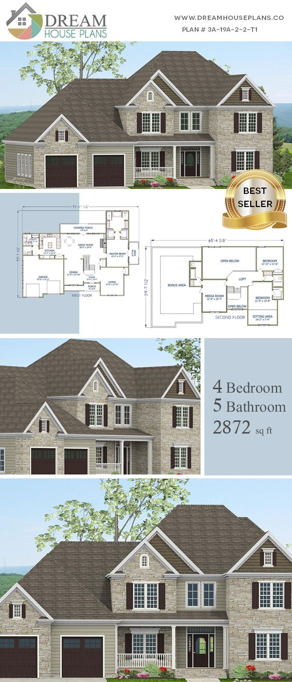 Dream House Plans Affordable Yet Luxury Southern 4 Bedroom 2872 Sq Ft House Plan With Basement We Custom Design 1000 S Of Home Plans House Bluep Planos
