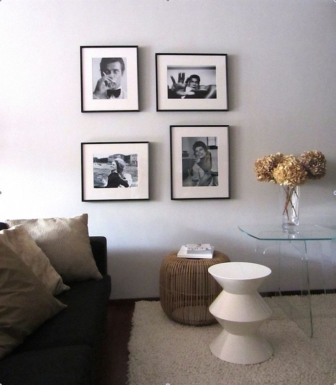 Celebrity pictures in living room