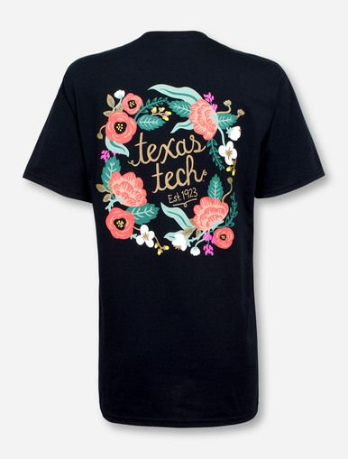 Floral Wreath with Texas Tech Script T-Shirt - Red Raider Outfitter