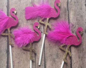 Glittery Flamingo Cupcake Toppers Set of 12 by SocialBashAndCo