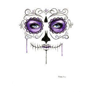 Purple Sugar Skull Drip Painting Watercolor Print