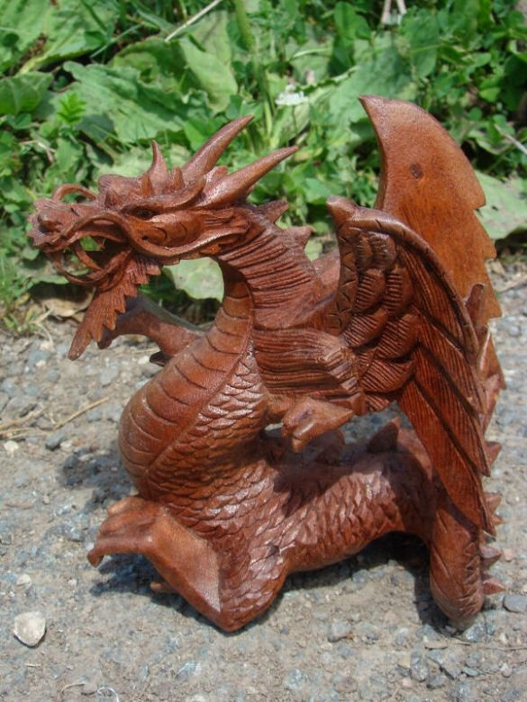 Fairtrade Dark Wooden Winged Dragon Statue Siiren Fair