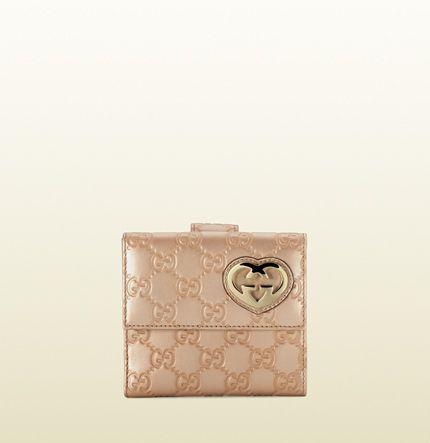 Gucci - heart-shaped interlocking G flap french wallet 245727AHB1G2729