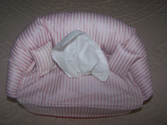 Sofa Shaped | Tissue Box Cover | Novelty Item | Home Decor | Fabric Craft | 2 Matching Pillows | Pink/White | Handmade | Shipping Included!