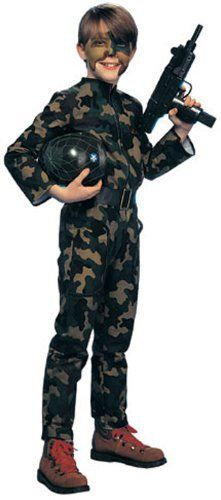 Young Heroes Child's G. I. Soldier Costume, Large by Rubies. $26.12. Large fits children size 12. Camouflage pattern jumpsuit. Fun for Halloween or dress up any day. Face paint and toy gun sold separately. Also includes helmet and belt. From the Manufacturer                Honoring Heroes everywhere, this camouflage costume lets your young one be a young hero. Also includes helmet and belt. Face paint and toy gun sold separately. Fun for Halloween or dress up any day.      ...