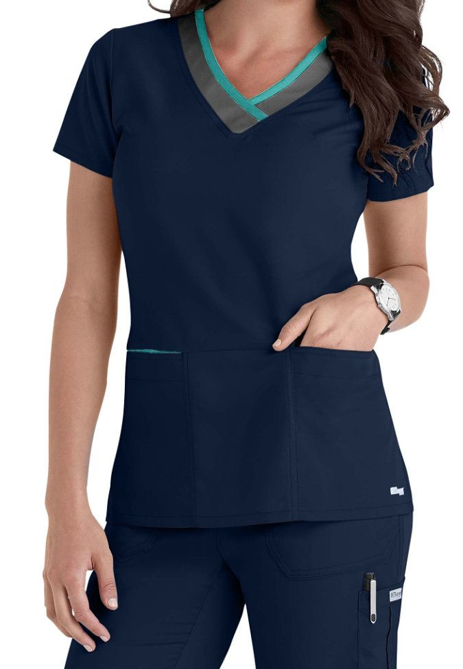 Greys Anatomy Color Block 3-pocket V-neck Scrub Tops Main Image small