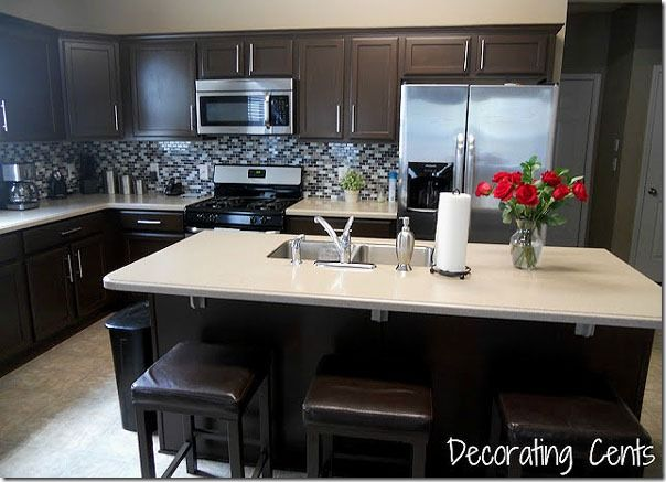 Remodelaholic | Sleek Dark Chocolate Painted Cabinets!
