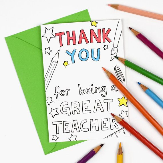 Thank you for being a great teacher Printable Colour in Card - tutor / teacher appreciation, Thank you Teacher card. Instant Download.  More thank you teach cards are available from hfcSupplies on Etsy.
