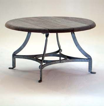 Round Coffee Table with Natural Timber Top and Galvanized Base - Inside Out Home Boutique