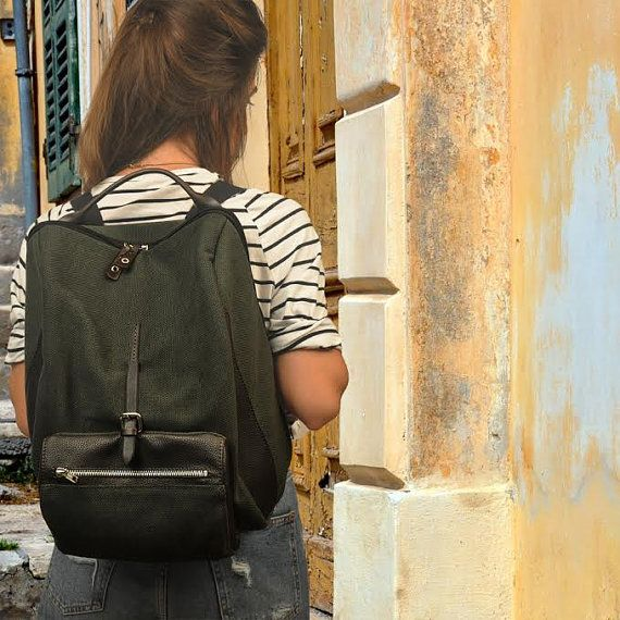 Stylish backpack for men and women in cotton canvas-leather