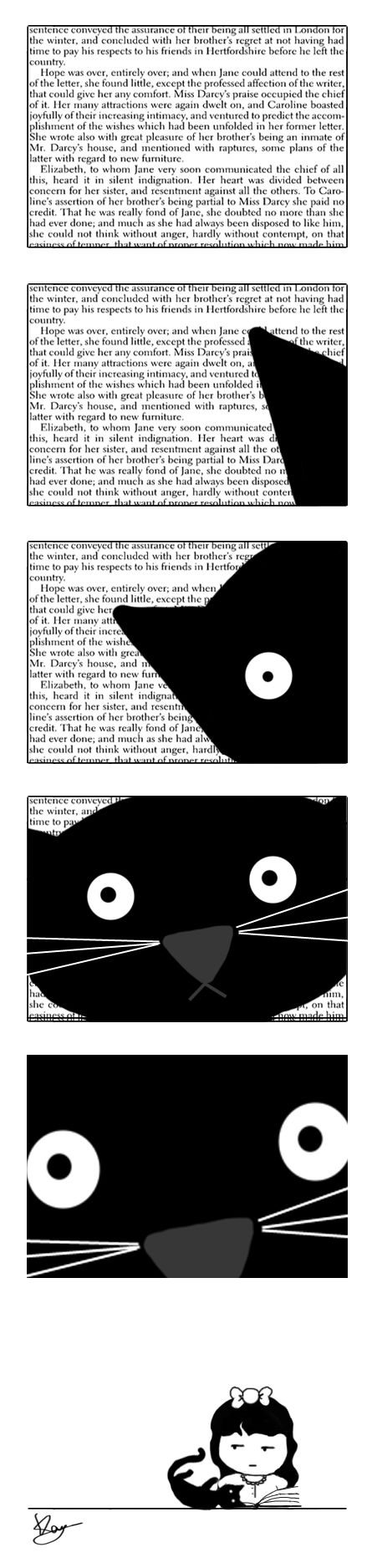 Reading a book with a cat - lol - so true :)