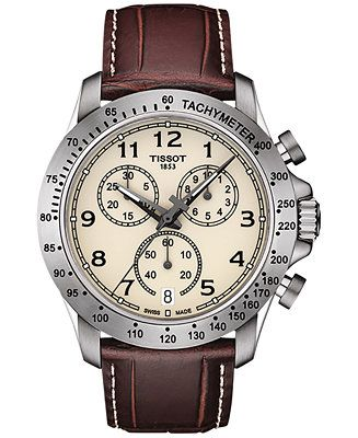 Tissot Men's Swiss Chronograph V8 Brown Leather Strap Watch 42mm T1064171626200 - Watches - Jewelry & Watches - Macy's