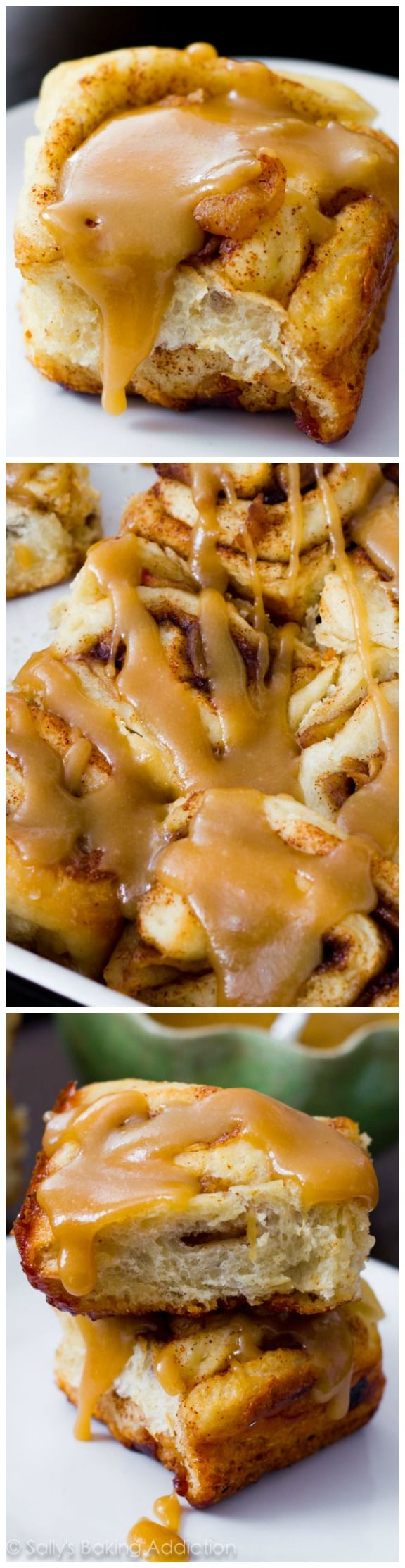 Soft, fluffy cinnamon rolls stuffed with brown sugar & apples, and generously glazed with homemade caramel!