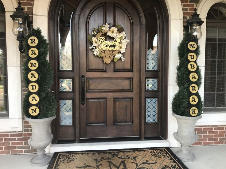 Front door Ramadan set up. Very elegant and classy. Ramadan decor items from Eidway.com