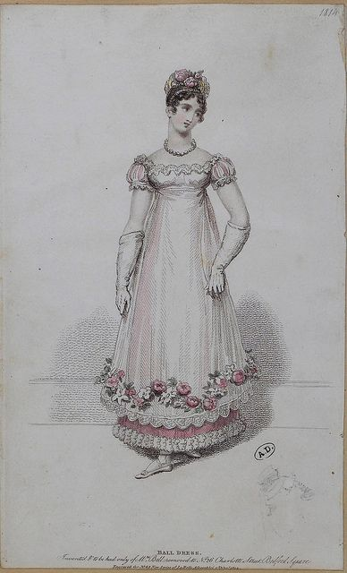 English Regency Ball Dress, 1814, from SceneInThePast, via Flickr