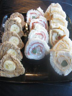 Pinwheel Sandwiches...and asparagus/cheese whiz, or cream cheese ...