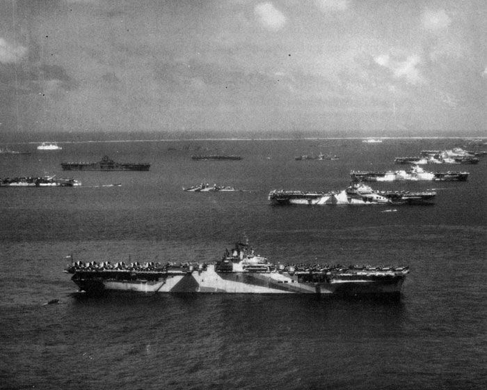 Third Fleet Essex-Class carriers at Ulithi Atoll during the Second World War. From front to back, we have USS Wasp (CV-18), USS Yorktown (CV-10), USS Hornet (CV-12), USS Hancock (CV-19) and USS Ticonderoga. To the far left is the escort carrier USS San Jacinto, above that USS Lexington, and the older USS Langley.